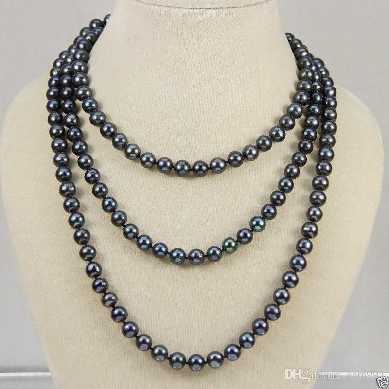 6554a5ed4f0b Compre Nuevo Collar De Perlas Cultivadas De Akoya Real Negro De 5 6 Mm 50 A   20.09 Del Gem994