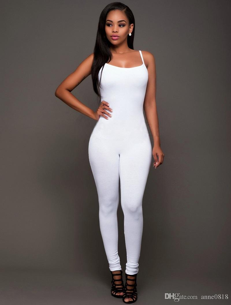 2017 Summer Sexy & club LadiesFull Length Skinny o-neck Backless Stretch Elastic Cotton Polyester Jumpsuits For Women