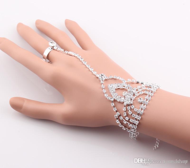 Fashion Crystal Bridal Bride Bracelet Ring Hand Chain Shining Rhinestone Wedding Jewelry Set Wedding Bridal Rhinestone Accessories