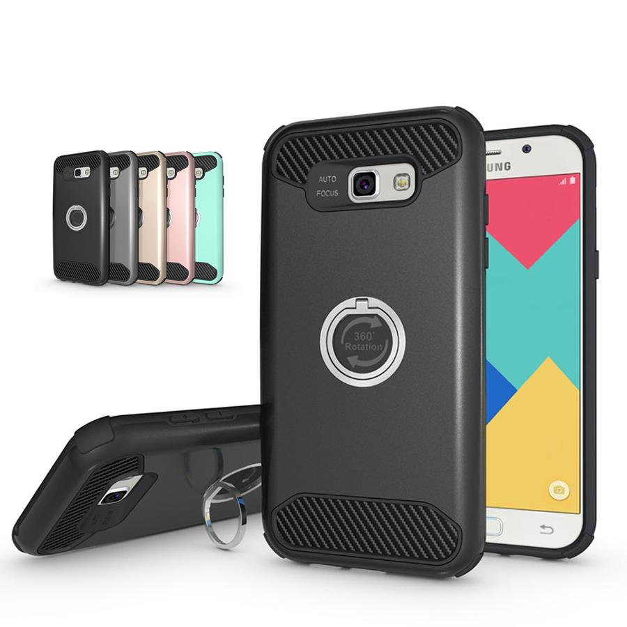 release date e0942 eb2d4 Armor Hard Back Case Cover for Samsung Galaxy A5 A7 2017 Hybrid Tough  Shockproof Protective Shell with 360 Rotating Kickstand & Ring Bracket