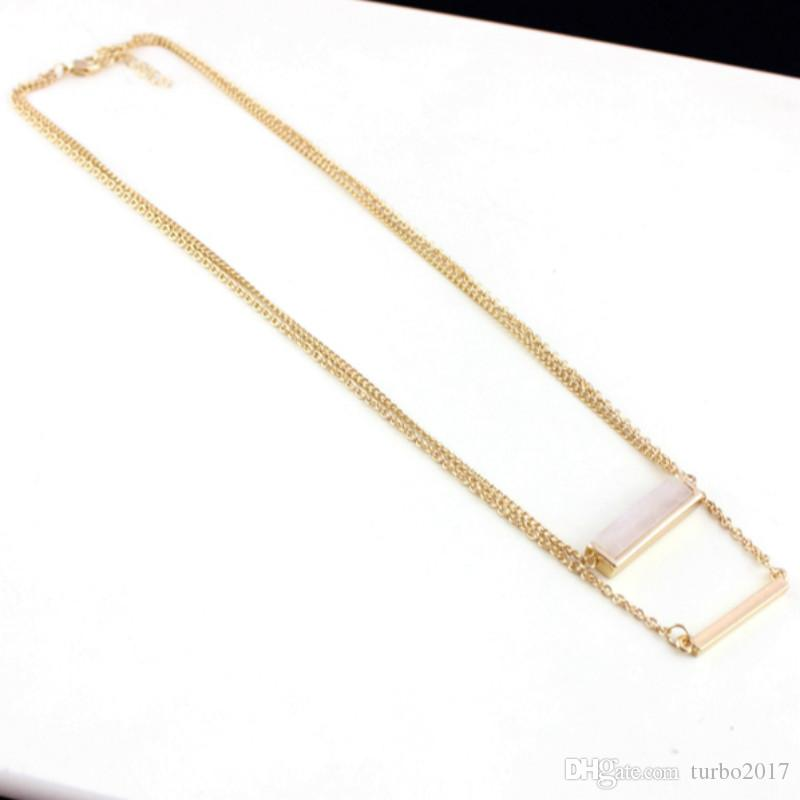 Natural Stone Pendants Necklace Women Double Layer Chain Alloy Pendants Rectangle Pink Blue Natural Stone Necklace