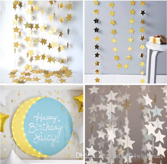 4m Star Paper Garland Banner Bunting Drop Baby Shower Wedding Party Decor for chirldren roon /friend gift