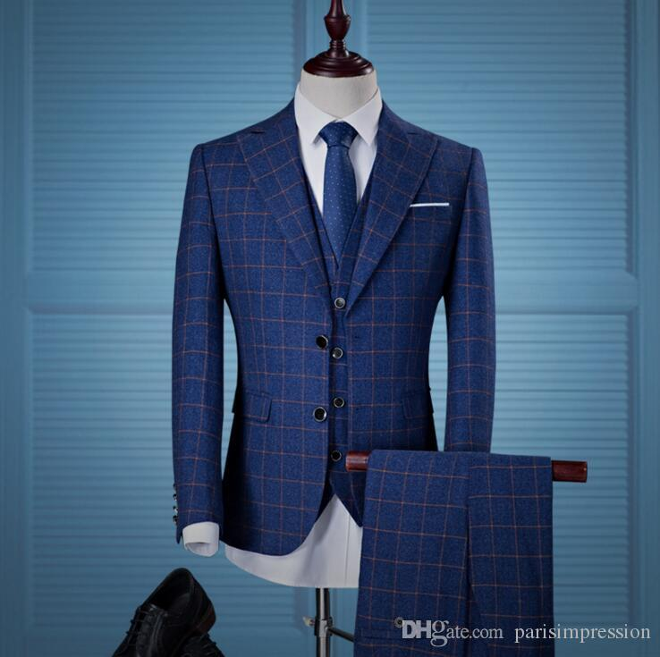2017 Custom Made Blue Lattice Men Suit Blazers Retro Gentleman Style ...