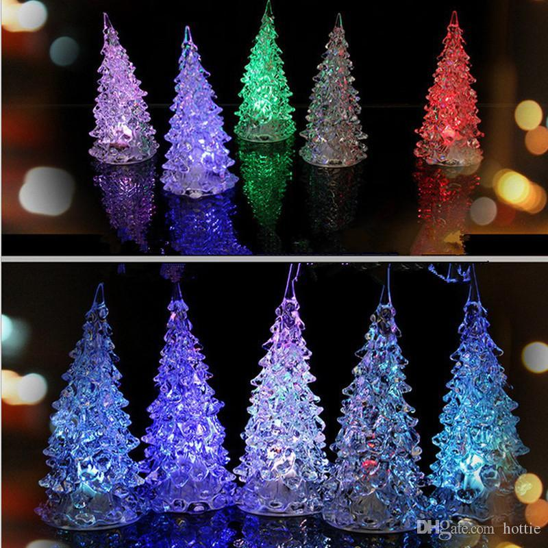wholesale christmas decorations mini acrylic christmas tree led lantern night lights colorful led flash tree xmas gift good christmas decorations great