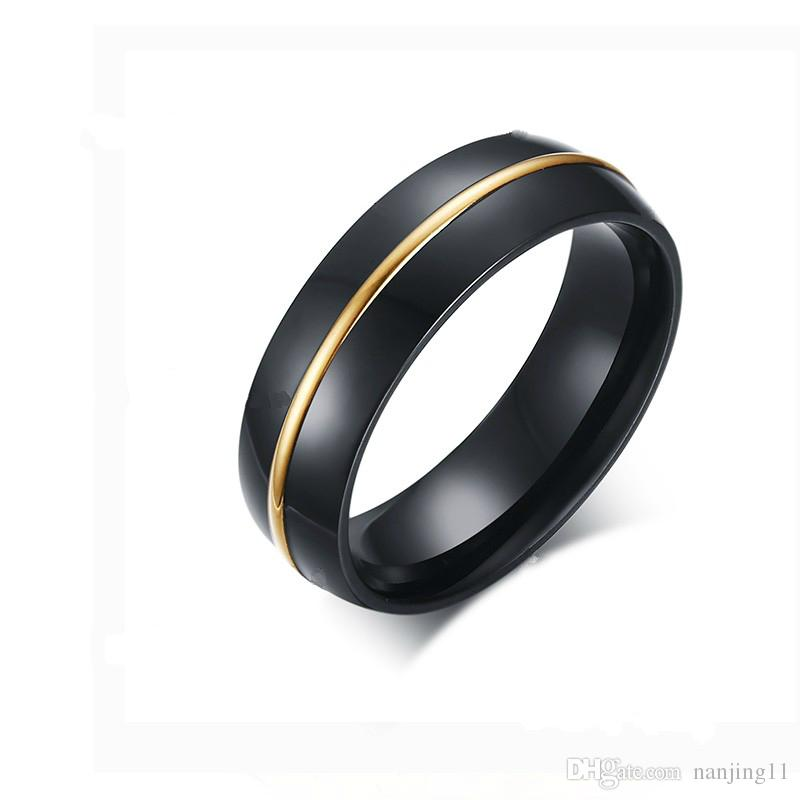 Anneau De Mariage Noir Pour Homme Bijoux 6mm Chaîne Plaquée Or 18 Carats Avec Arceau Supérieur Et Bords Polis R 195