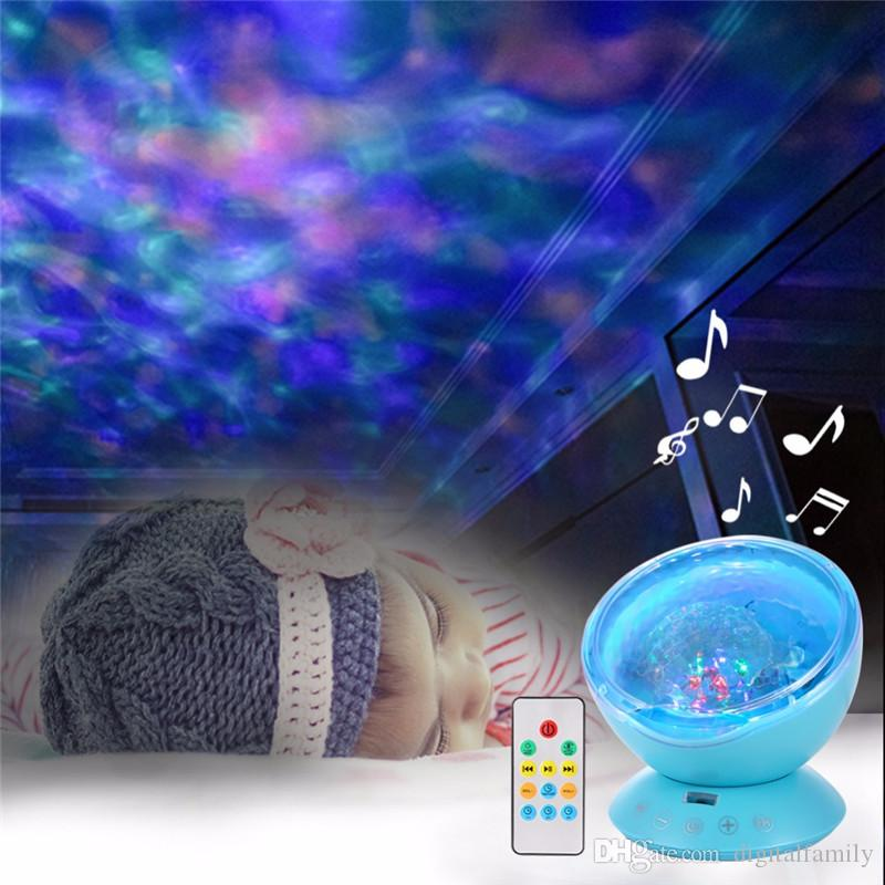 Amazing Romantic Remote Control Ocean Wave Projector 12 LED Night Light with Built-in Mini Music Player for Living Room and Bedroom