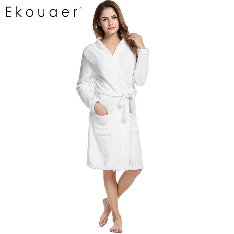 6007248db3 Wholesale- Ekouaer Winter Bath Robe Sleepwear Women Coral Velvet ...
