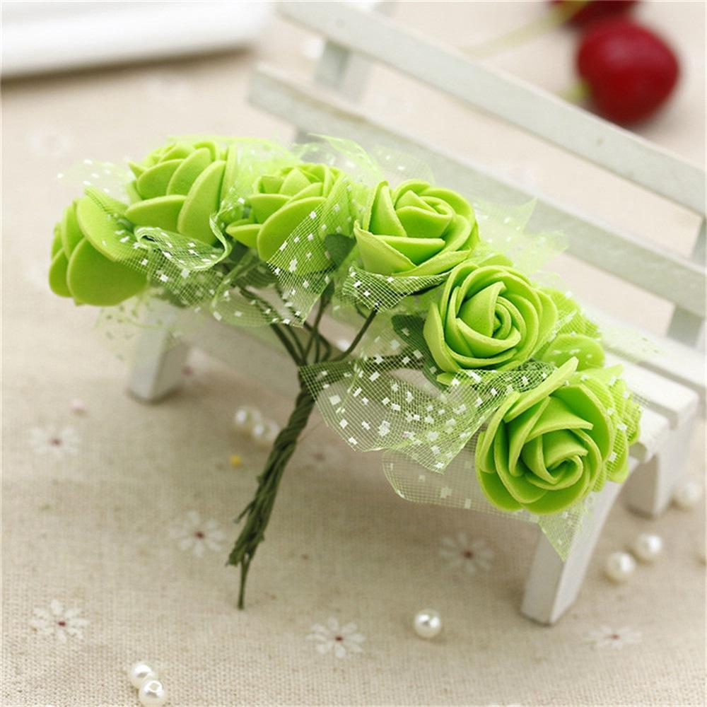 2.5CM head Multicolor PE Rose Foam Mini artificial silk Flowers Bouquet Solid Color/wedding decoration
