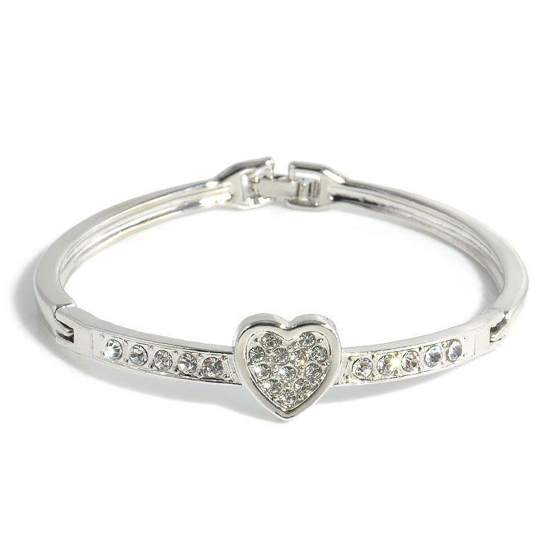 Austrian Crystal Bangle Bracelet Fashion Korea Creative Jewelry White Flower Style Aftificial Diamond Jewelry Love Heart Bracelets For Women