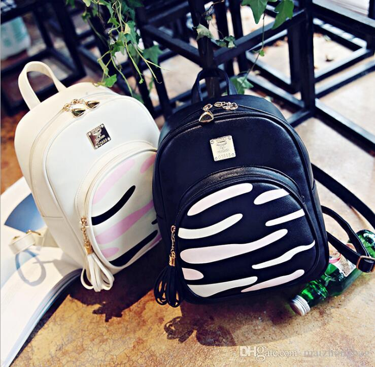 New Korean Style Women s Backpack Zebra Pattern PU Leather Shoulders Bag  Fashion Zebra Schoolbag Designer Bag PU Backpacks Student Bags Women  Backpacks ... 0c9c95aeca178