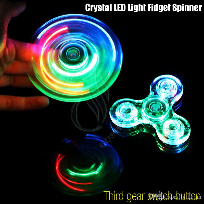 New Crystal Led Light Fidget Spinner Toy Triangle Hand Spinners Abs 3 Switch Button Edc Finger Tip Decompression Novelty Rollver Toys Dh Finger Puppet ...