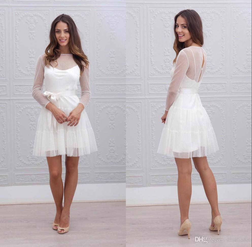 Discount Short Wedding Dresses 2017 Lace Beautiful A Line