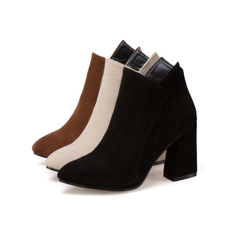 3410d314 Compre Mujeres De Gamuza Botines De Cuero Mujer 2018 Otoño Grueso Tacones  Altos Botas Damas Mujer Nubuck Negro Zapatos De Punta Puntiaguda A $32.57  Del ...