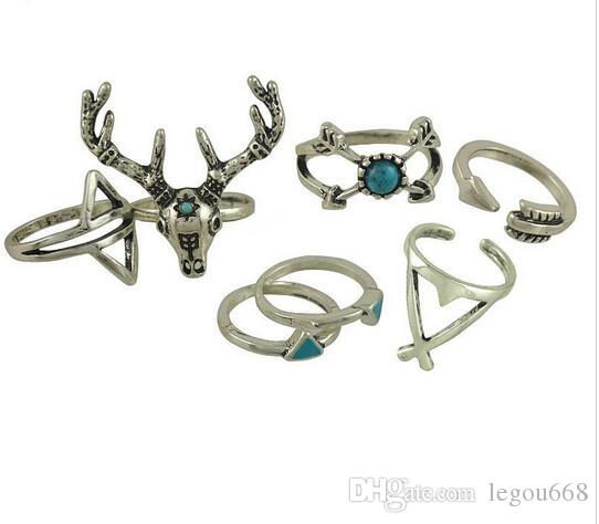 Nueva Vintage Boho Rings Jewelry / Pack Metal con plata antigua plateada anillo de multipack Set para mujer anel Antler G76