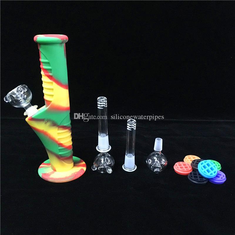 Mini Bongs de Silicona de 9.5 pulgadas es con conjuntos de vidrio Tubos de agua Bongs irrompibles Bubbler Bong de vidrio
