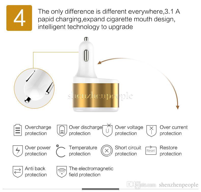 Adattatore universale caricabatterie da auto Dual USB 2 Port 3100mah Caricabatteria da auto 3.1A Adattatore di alimentazione accendisigari