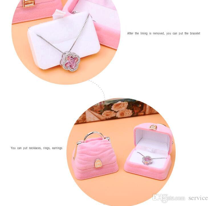 MINI tote Bag Velvet Jewelry Ring/ Earring Gift Packaging Display Box For Wedding Jewelry Boxes 2017