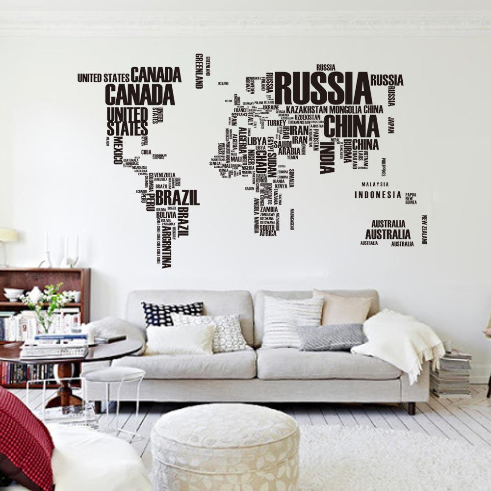 Hot Sale Black Letters World Map Wall Stickers Diy Creative Large Size Wall  Mural Home Decoration Country Name Wall Decal Removable Decals On Walls  Decals ...