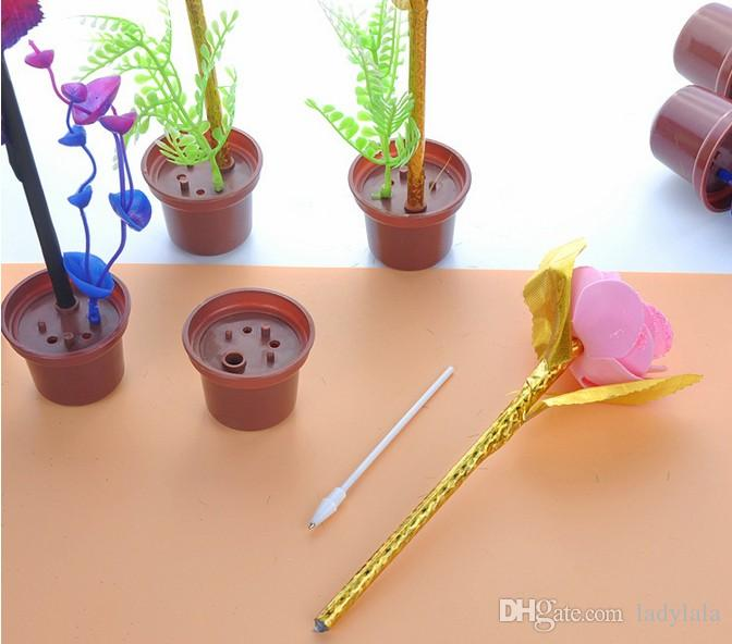 Novelty Stationery Cute I LOVE YOU Immitation Plants Blue Ink Ball Point Pens Stationery School & Office Supplies Korean Stationery