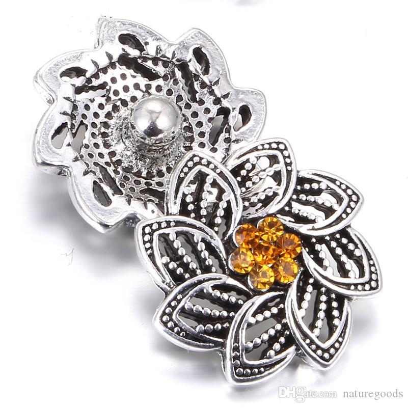 Snap Jóias de Alta Qualidade Do Vintage Strass Flores 18mm Snap fit Snap pulseira para as mulheres Botão