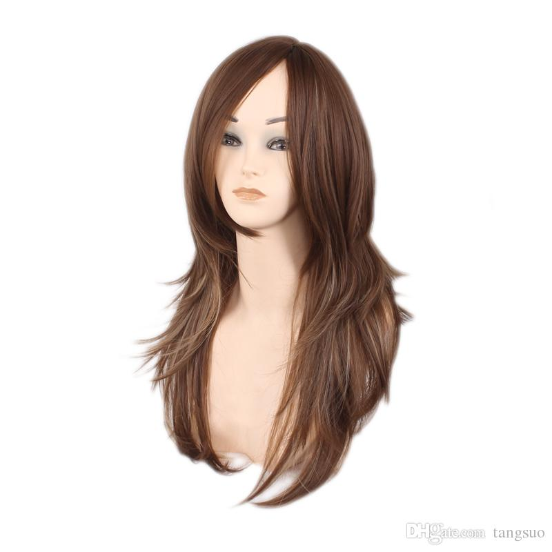 Europe American 60cm Women Red Black Brown Golden Mixed Color Long Wavy Synthetic Hair Wigs Fashion Wave Heat Resistant Hair Cosplay Wigs