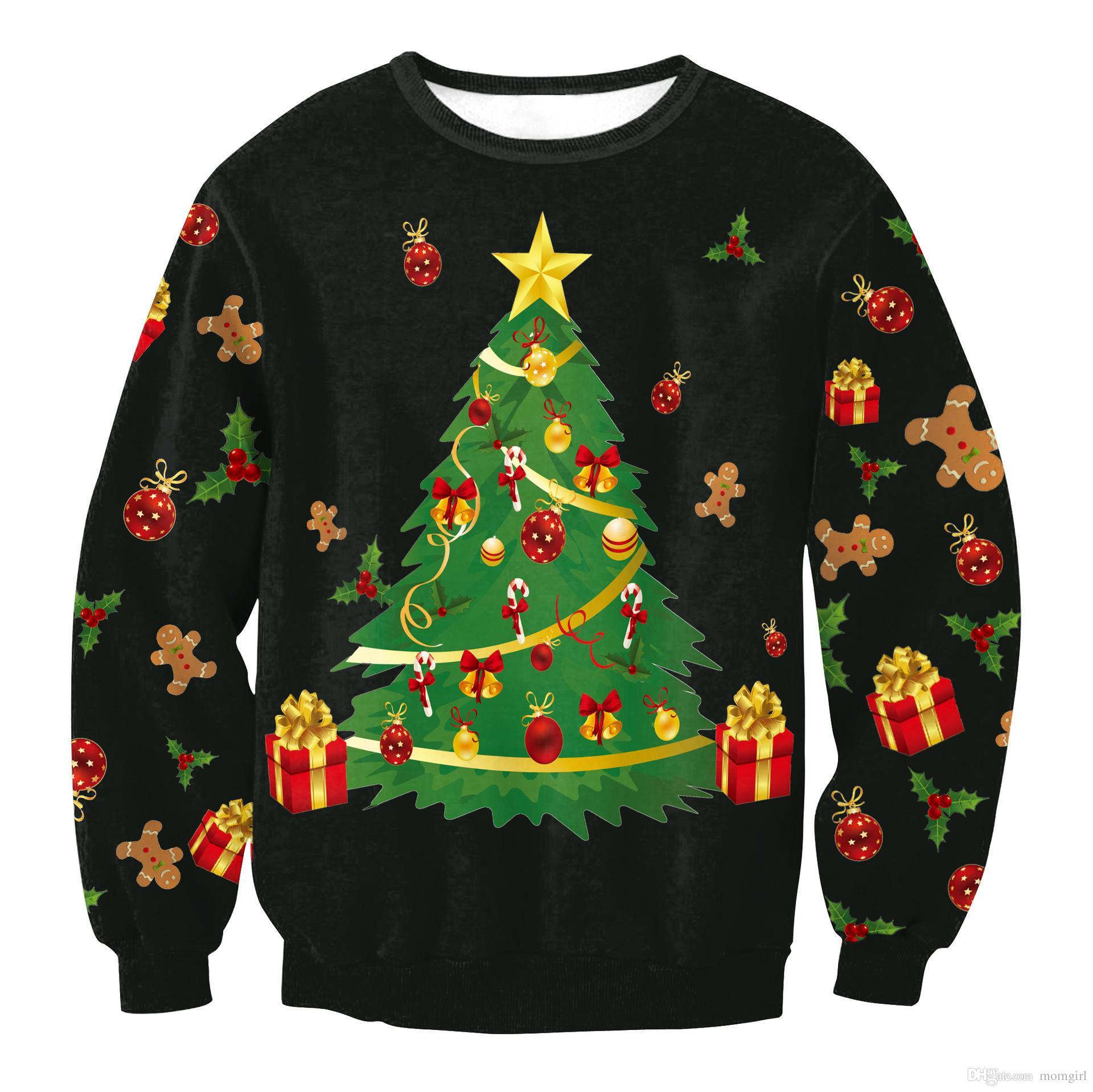 aa961136e63 adult christmas long sleeve shirt women spring autumn cartoon clothes santa  claus elk snowman print funny