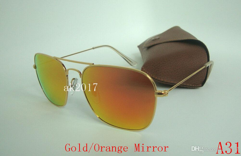 High Quality Womens CARAVAN Sunglasses Gold Metal Sun Glasses Mirror Green 58mm Glass Lenses UV Protection