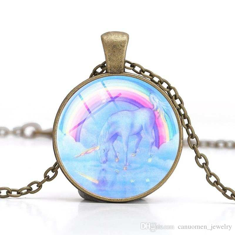 Unicorn Pendant Necklace Rainbow Glass Cabochon White Horse Necklaces DIY Handmade Animals Charm Jewelry Children Friends Gifts Wholesale