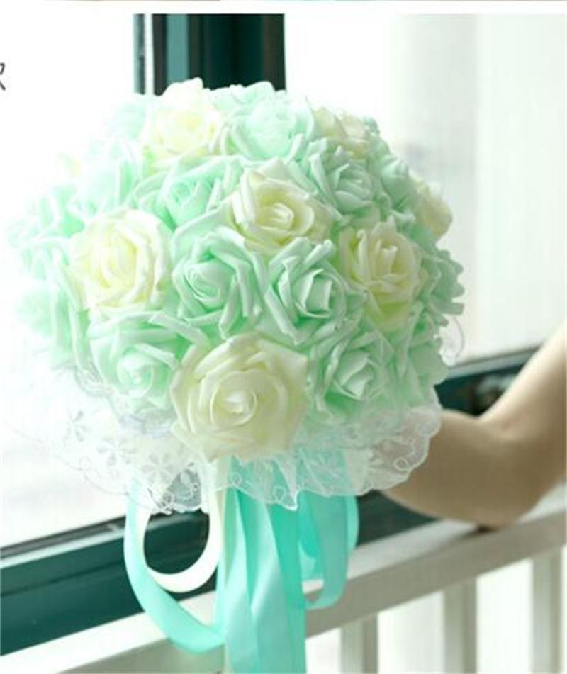 Mint Wedding Flowers: 22 Flowers Bridal Wedding Bouquet Mint Blue Purple