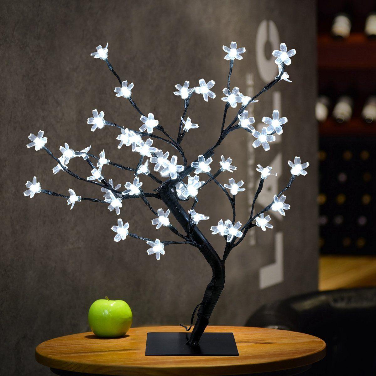 Crystal Cherry Blossom 48 LEDs Lumière d'arbre Lumières de nuit Lampe de table 45cm Branches noires Éclairage Fête de noel Fleurs de fleurs de mariage LED