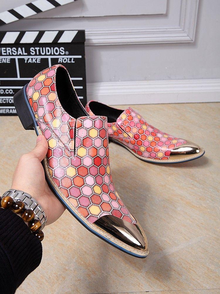 Christia Bella italiano Negócios Shoes Men Oxfords couro genuíno sapatos rosa Homens Wedding Party Dress sapatos masculinos Flats Plus Size