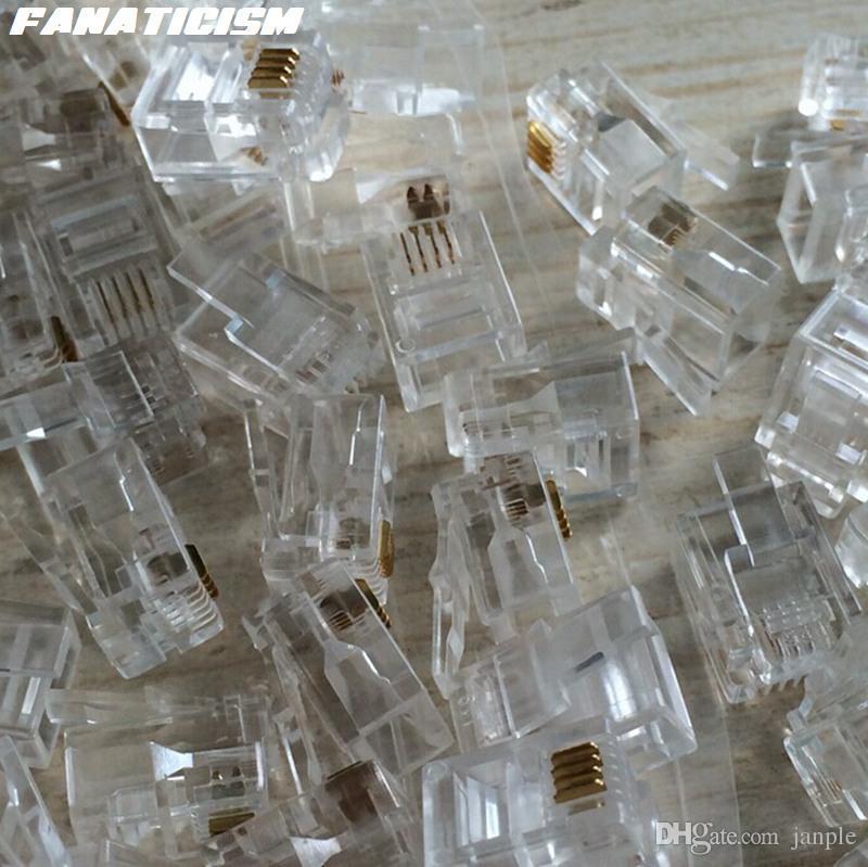 Fanaticism High Qulaity 6 Pin 4 Contacts RJ11 RJ-11 Adapter Modular Plug 6P4C Telephone Phone Connector Crystal Head Adapter