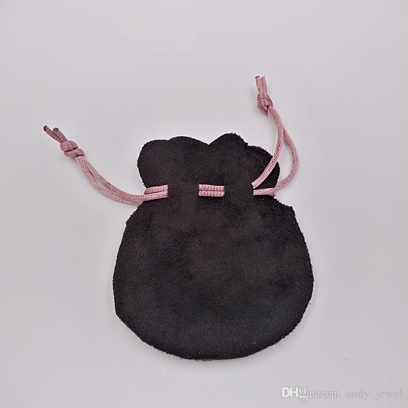 Sacchetti di velluto nero nastro rosa adatto in forma europea perline in stile Pandora Charms e braccialetti collane gioielli gioielli moda pendente sacchetti