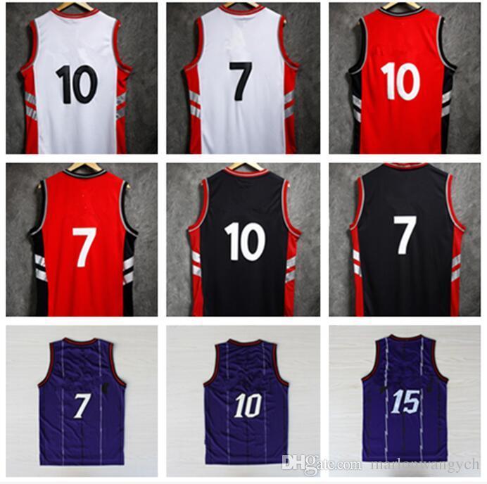 brand new 1c8f0 d49cd basketball Jerseys #10 Demar DeRozan #7 Kyle Lowry #15 Vincent Lamar Carter  #1 Tracy McGrady Red Black purple White