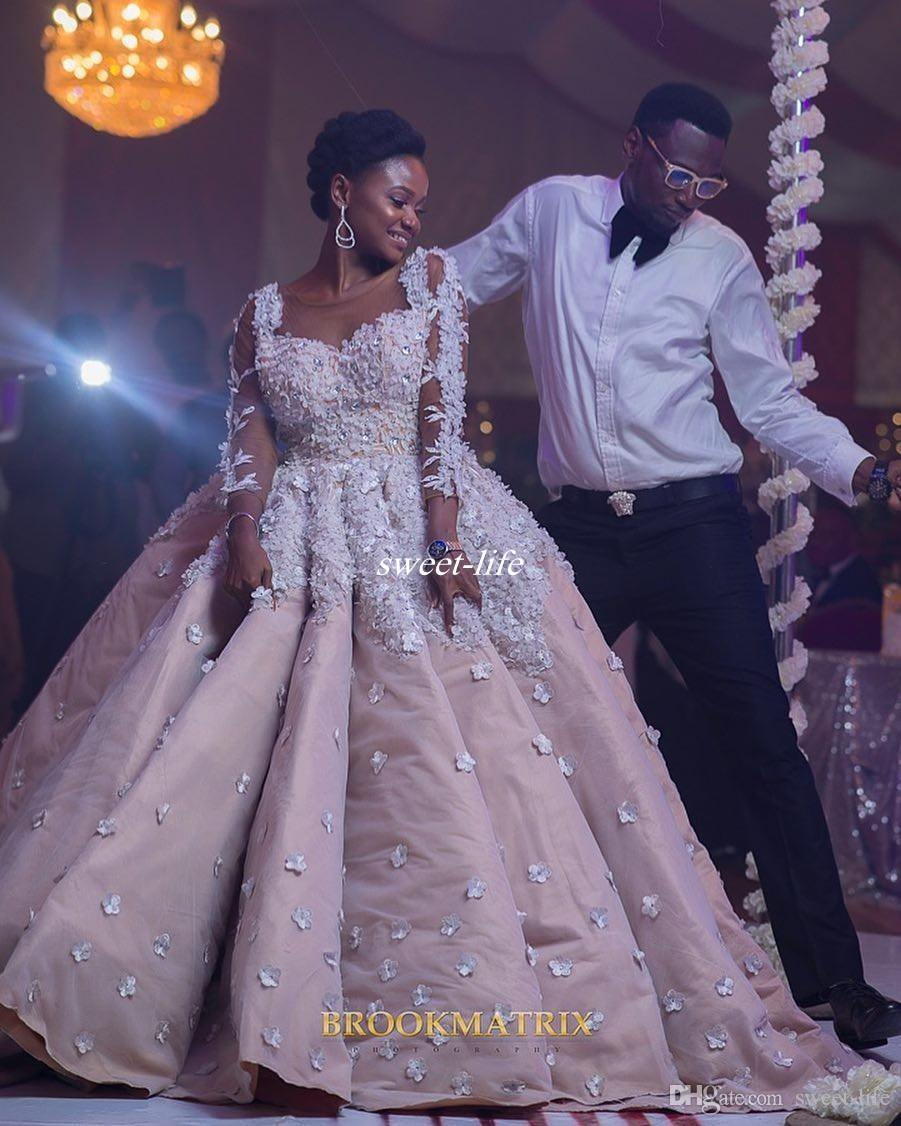 Boho Blush Pink Wedding Dresses 2017 Pretty 3d Flower Lace: Discount Plus Size Long Sleeve Wedding Dresses Blush Pink