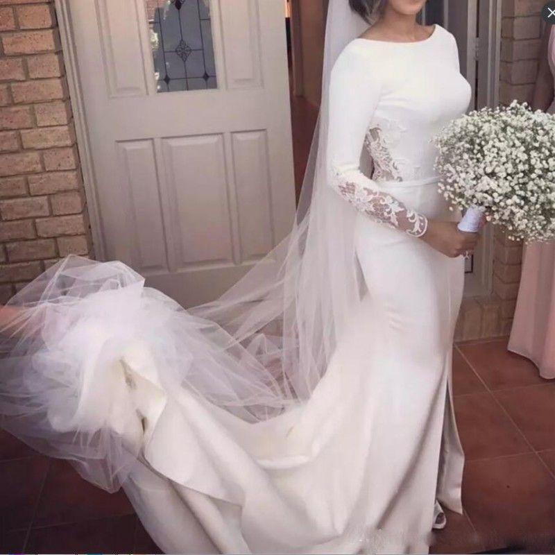 Vintage Long Sleeves Wedding Dresses Beach Wear Sweep