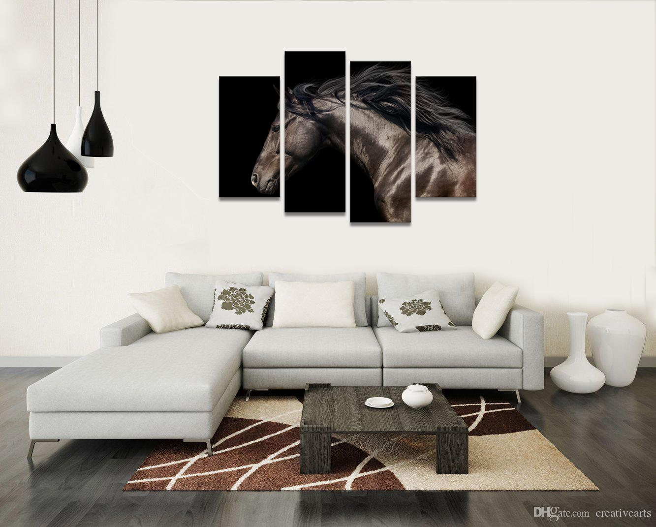 Black Horse Painting Photo Canvas Art Print Animal Canvas Printing for Home Wall Decor/SJMT1851