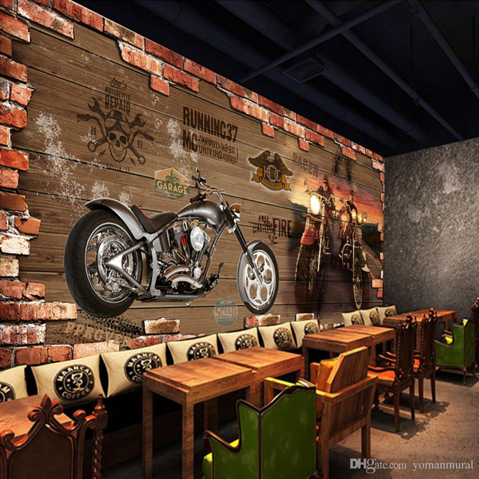 Custom Photo Wallpaper Vintage Motorcycle Nostalgic Brick