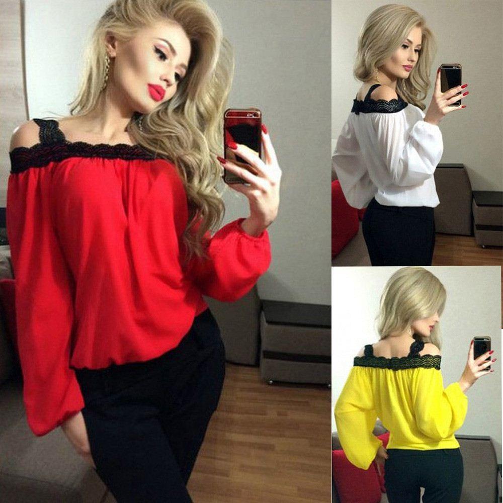 f42cdd64bc36 Blusas Femininas 2017 Otoño Primavera Mujeres Señoras Sexy Lace Chiffon Off  Shoulder Tops Casual Camisa de Manga Larga Blusa Más El Tamaño