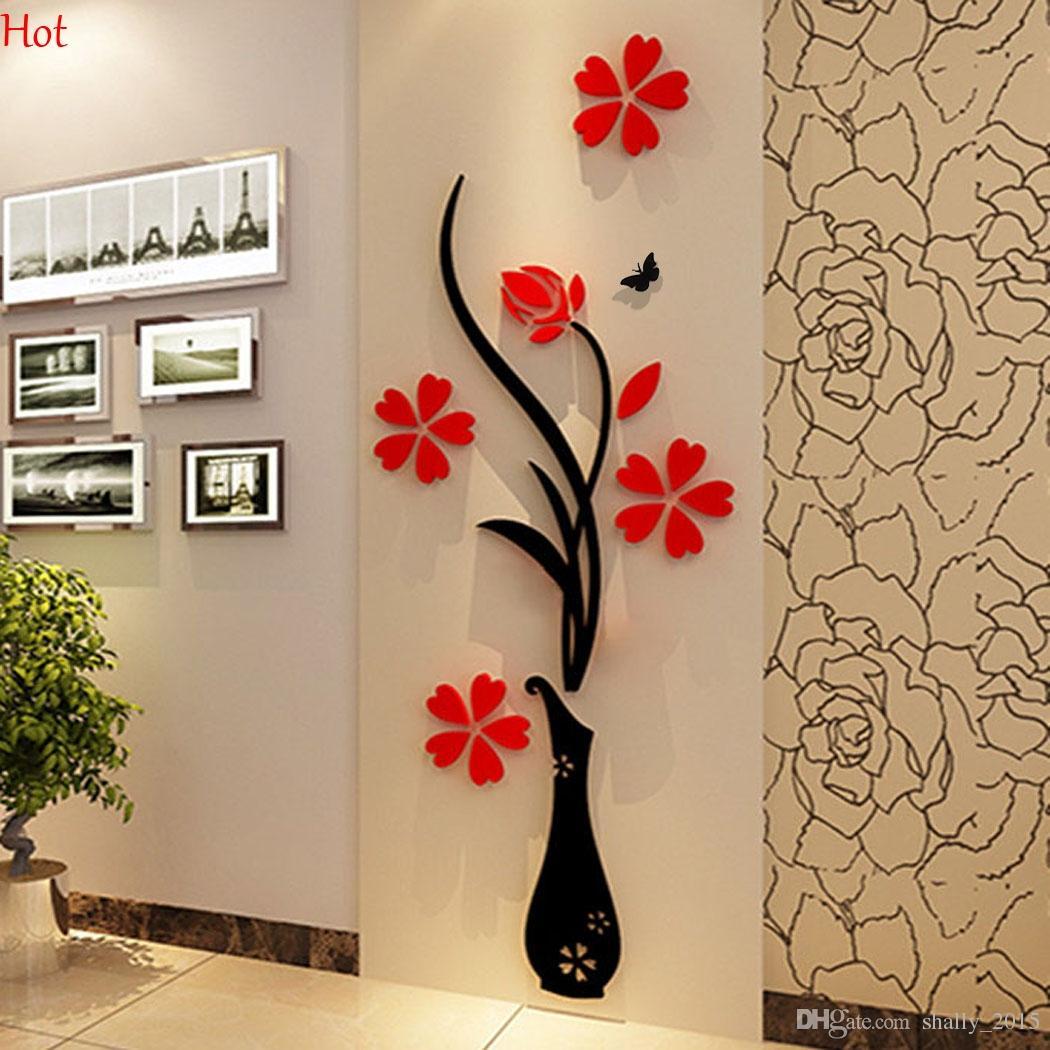 Wholesale wall stickers acrylic 3d plum flower vase stickers vinyl wholesale wall stickers acrylic 3d plum flower vase stickers vinyl art diy home decor wall decal red floral wall sticker colors ysb000031 room wall stickers amipublicfo Gallery
