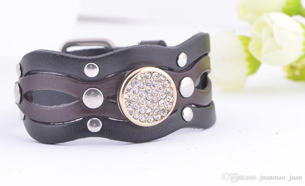 Новый дизайн имбирь Оснастки натуральная кожа браслет мода Оснастки ювелирные изделия для женщин Fit Noosa 18 мм Оснастки кнопки
