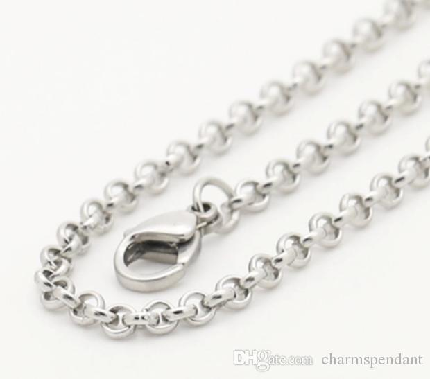 large wholesale price silver tone Stainless Steel round rolo LInk Chain Necklace women jewelry 3mm /4mm choose lenght in bulk