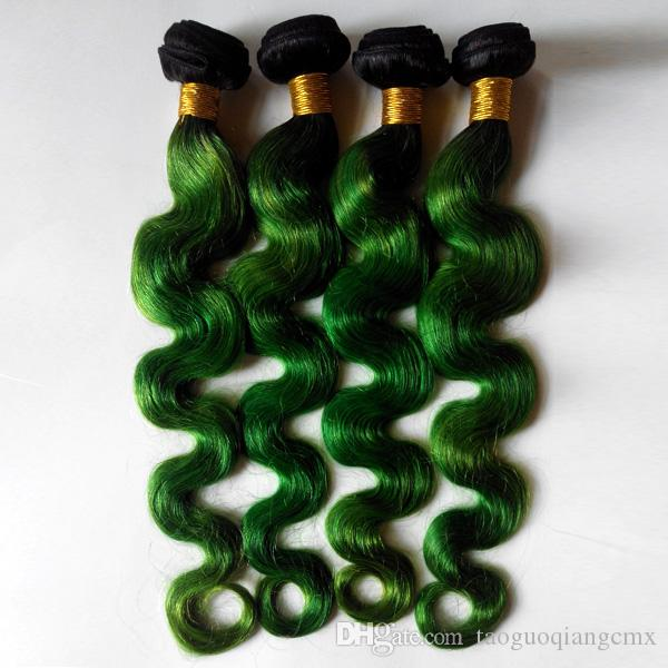 لهجة أومبير الحياكة بيرو جسم موجة شعر الإنسان اللحمة نيو ستار T لون الشعر ملحقات 1B / أخضر 3Bundles لا ذرف لا متشابكة
