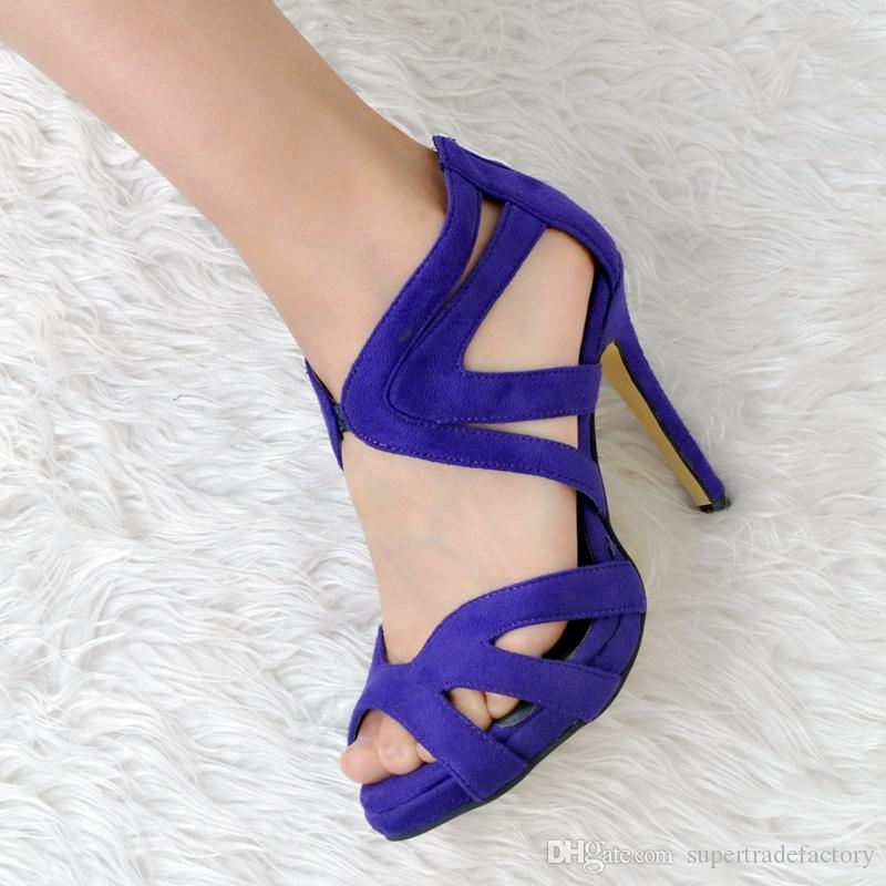 Royal Blue Open Toe High Heel Women Sandal High Heels Cross Strap Hollow Out Summer Shoes Women 2017 New Shoes China