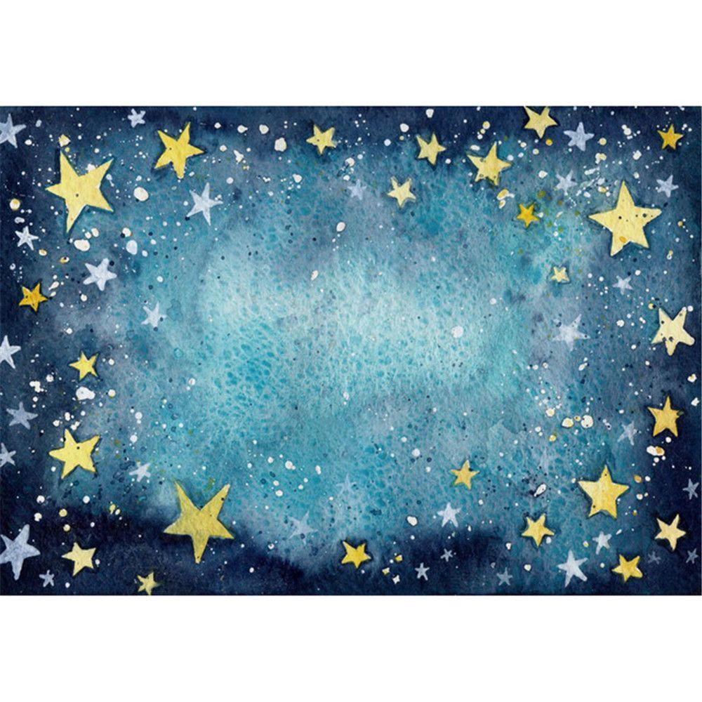 2019 vinyl photography cartoon backdrops dark blue sky stars baby