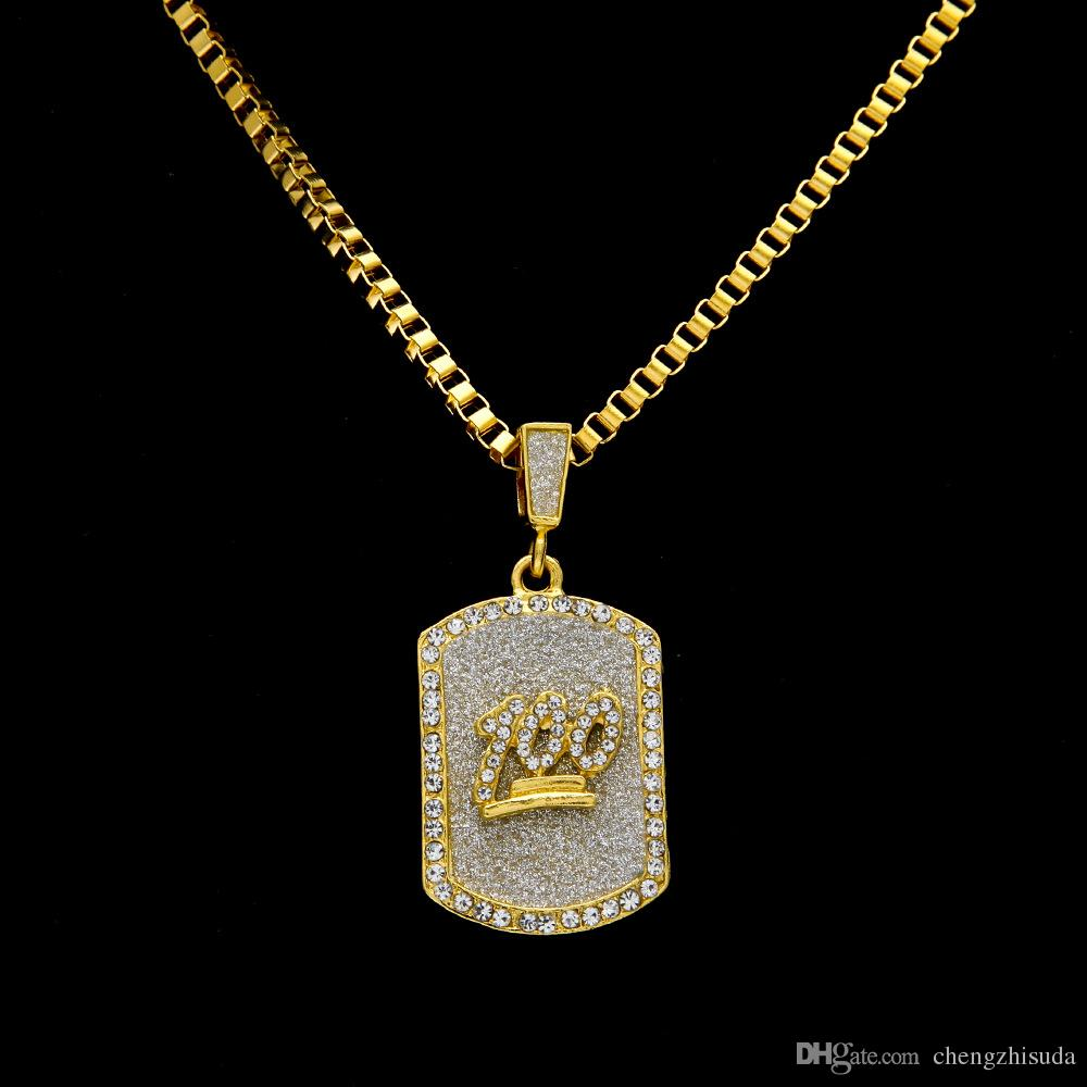 Wholesale New Mens 14k Gold Plated Emoji 100 Cz Dog Tag Pendant