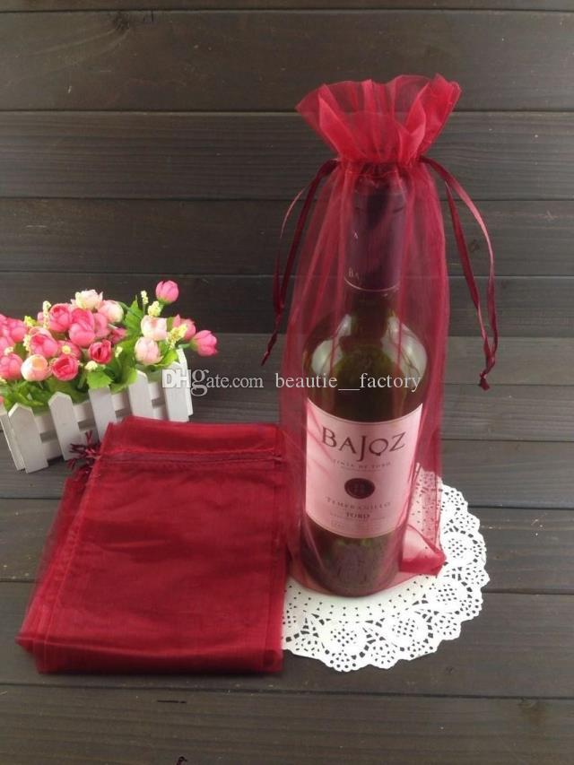 Botella de plata de organza Bolsa de organza favor bolsa de papel de regalo de boda 14X35cm del vino bolsas de botella o colores de la mezcla