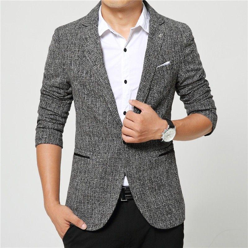 Compre Trajes De Hombres De Alta Calidad Para Hombre Trajes Casuales Blazers  Ocio Chaqueta De Moda Blazer Coat Botón Traje Hombres De Negocios Traje ... 431389dc0e4