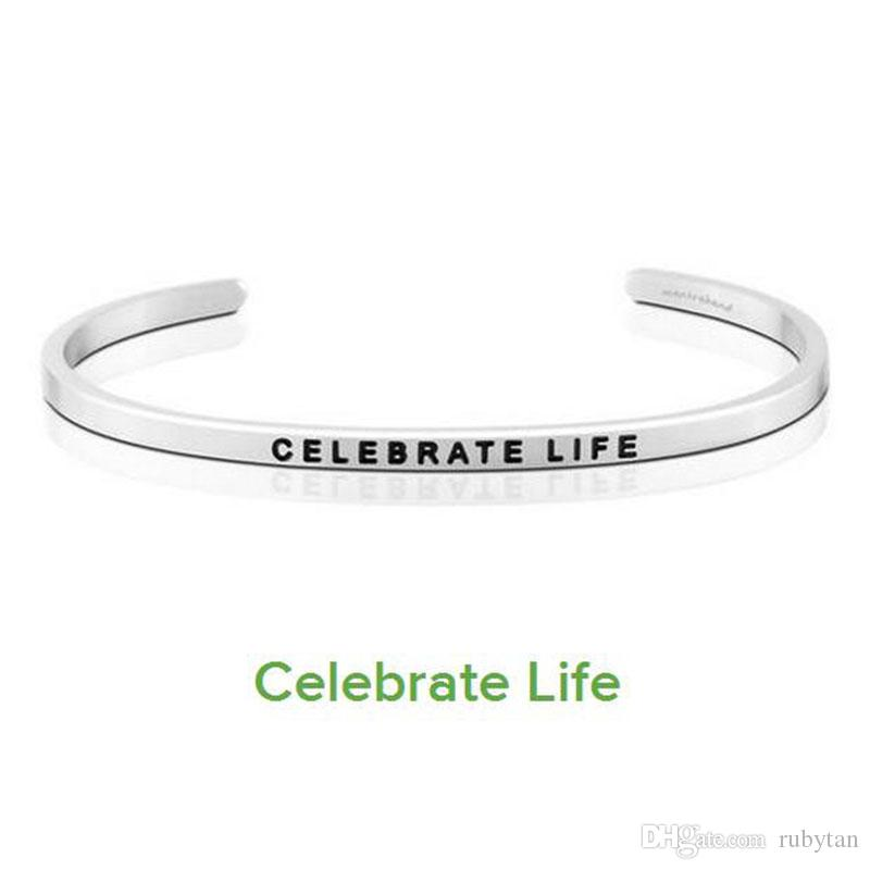New Stainless Steel Engraved CELEBRATE LIFE Inspirational Hand Stamped Cuff Bracelet Bangle For Women Best Gifts