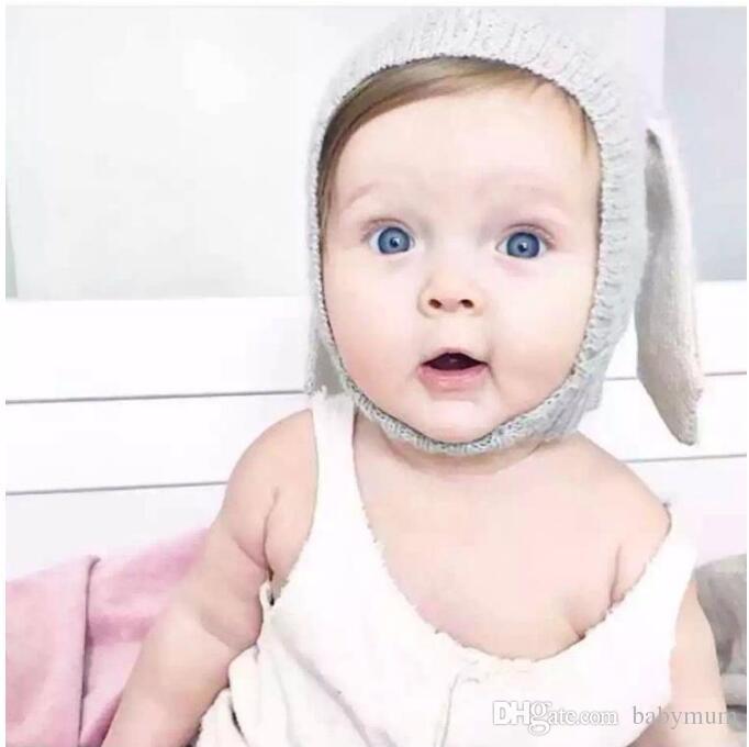 Hiver chaleureux bébé lapin oreilles tricotés chapeaux bébé chapeaux de lapin pour enfants 0-2T Girl Garny Beanie Chapeaux Photographie Props
